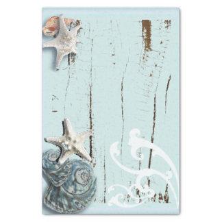 Coastal aqua blue beach wood starfish seashell tissue paper