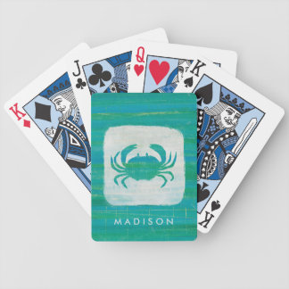 Coastal | Aqua Crab Bicycle Playing Cards
