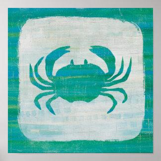 Coastal | Aqua Crab Poster