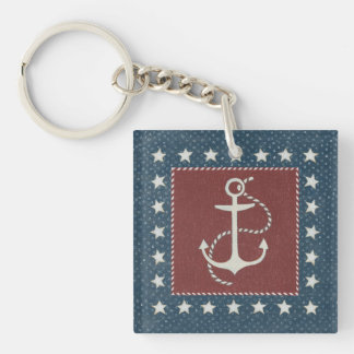 Coastal Art | Anchor on Red Double-Sided Square Acrylic Key Ring