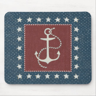 Coastal Art | Anchor on Red Mouse Mat