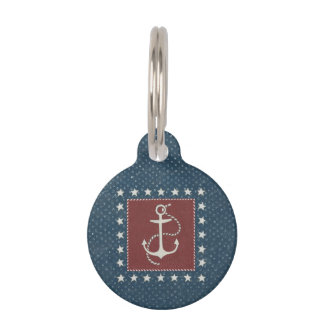 Coastal Art | Anchor on Red Pet ID Tag