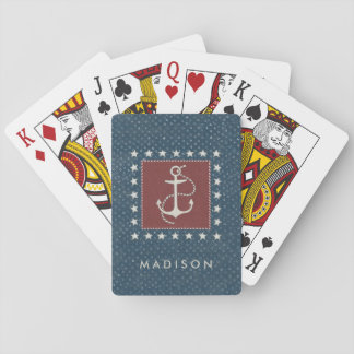 Coastal Art   Anchor on Red Playing Cards