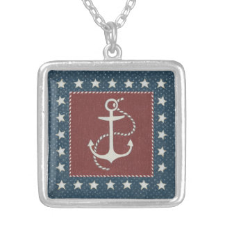 Coastal Art | Anchor on Red Silver Plated Necklace