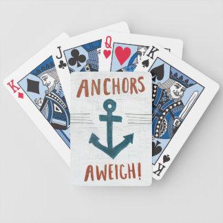 Coastal Art   Anchors Away Bicycle Playing Cards