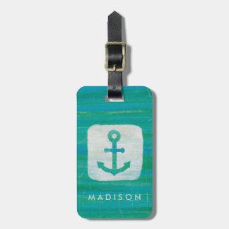 Coastal Art | Aqua Anchor Bag Tag