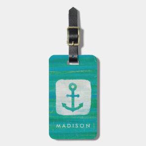 Coastal Art   Aqua Anchor Luggage Tag