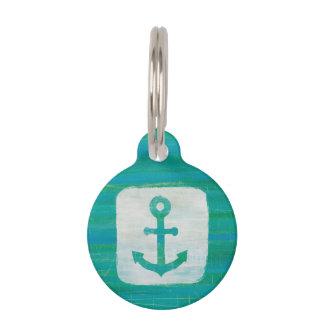 Coastal Art | Aqua Anchor Pet Name Tag