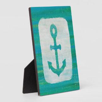 Coastal Art   Aqua Anchor Plaque