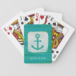 Coastal Art   Aqua Anchor Playing Cards