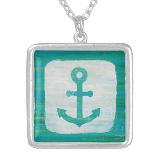 Coastal Art | Aqua Anchor Silver Plated Necklace