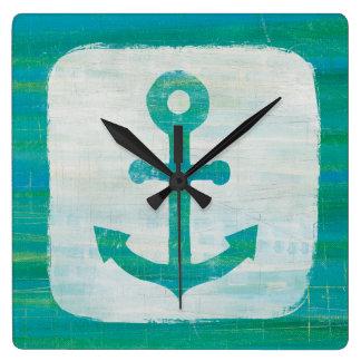 Coastal Art   Aqua Anchor Square Wall Clock