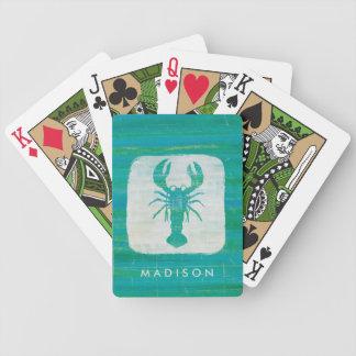 Coastal Art   Aqua Lobster Bicycle Playing Cards