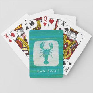 Coastal Art   Aqua Lobster Playing Cards