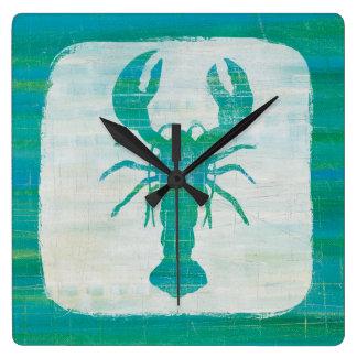 Coastal Art   Aqua Lobster Square Wall Clock