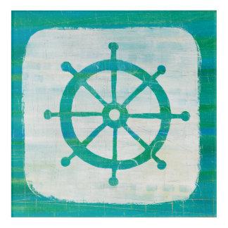 Coastal Art| Aqua Steering Wheel Acrylic Wall Art