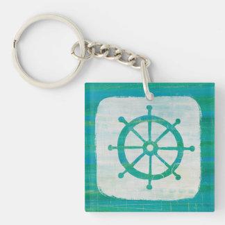Coastal Art| Aqua Steering Wheel Double-Sided Square Acrylic Key Ring