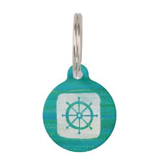 Coastal Art | Aqua Steering Wheel Pet ID Tag