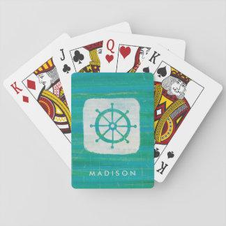 Coastal Art   Aqua Steering Wheel Playing Cards