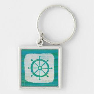 Coastal Art| Aqua Steering Wheel Silver-Colored Square Key Ring