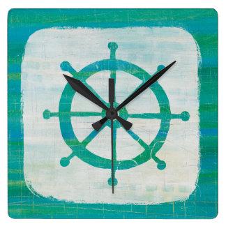 Coastal Art   Aqua Steering Wheel Square Wall Clock