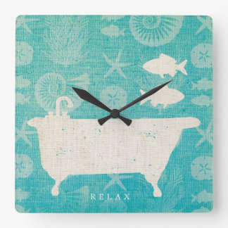 Coastal Art | Bathtub Flat Square Wall Clock