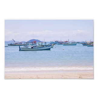 Coastal Art Blue Sea and Boats Photograph