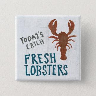 Coastal Art | Fresh Lobsters 15 Cm Square Badge