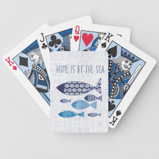 Coastal Art   Home is By the Sea Bicycle Playing Cards