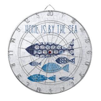 Coastal Art   Home is By the Sea Dartboard