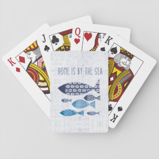 Coastal Art   Home is By the Sea Playing Cards