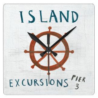 Coastal Art   Island Excursions Square Wall Clock