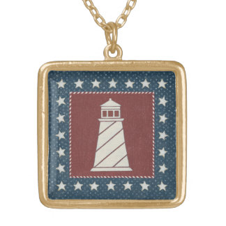 Coastal Art | Lighthouse on Red Gold Plated Necklace