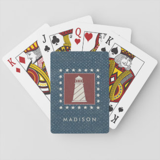 Coastal Art | Lighthouse on Red Playing Cards