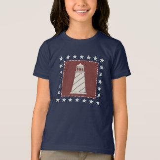 Coastal Art | Lighthouse on Red T-Shirt