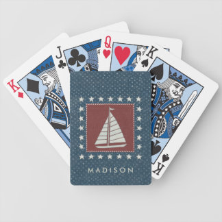 Coastal Art   Sailboat on Red Bicycle Playing Cards