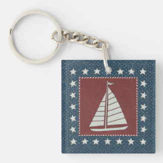 Coastal Art | Sailboat on Red Key Ring