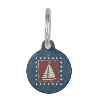 Coastal Art | Sailboat on Red Pet ID Tag