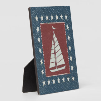 Coastal Art | Sailboat on Red Plaque