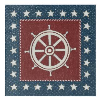 Coastal Art | Ship wheel on Red