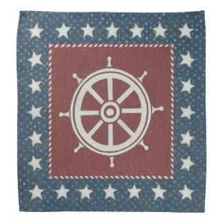 Coastal Art | Ship wheel on Red Bandana