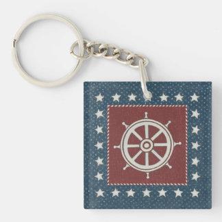Coastal Art | Ship wheel on Red Double-Sided Square Acrylic Key Ring