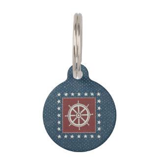 Coastal Art | Ship wheel on Red Pet Name Tag