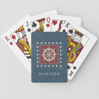 Coastal Art   Ship wheel on Red Playing Cards