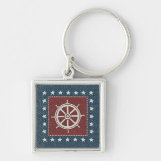 Coastal Art | Ship wheel on Red Silver-Colored Square Key Ring