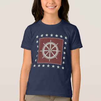 Coastal Art | Ship wheel on Red T-Shirt