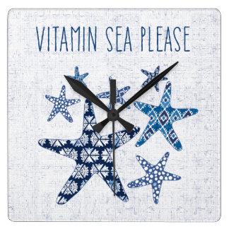 Coastal Art   Vitamin Sea Please Square Wall Clock