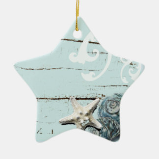 Coastal barn wood aqua blue starfish seashells ceramic star decoration