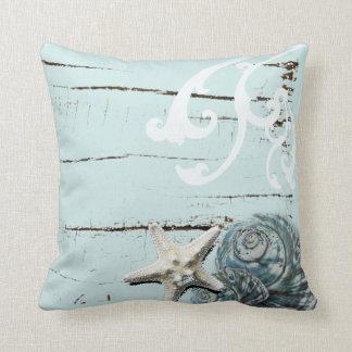 Coastal barn wood aqua blue starfish seashells cushion