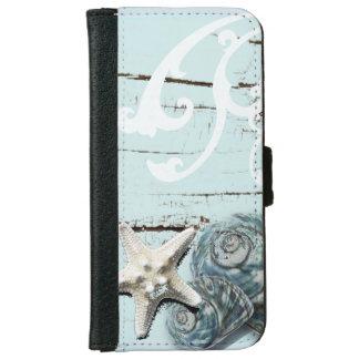 Coastal barn wood aqua blue starfish seashells iPhone 6 wallet case